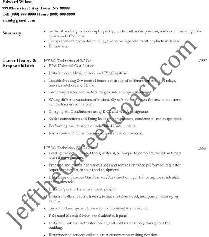hvac technician resume free pdf template. hvac resume sample hvac ...