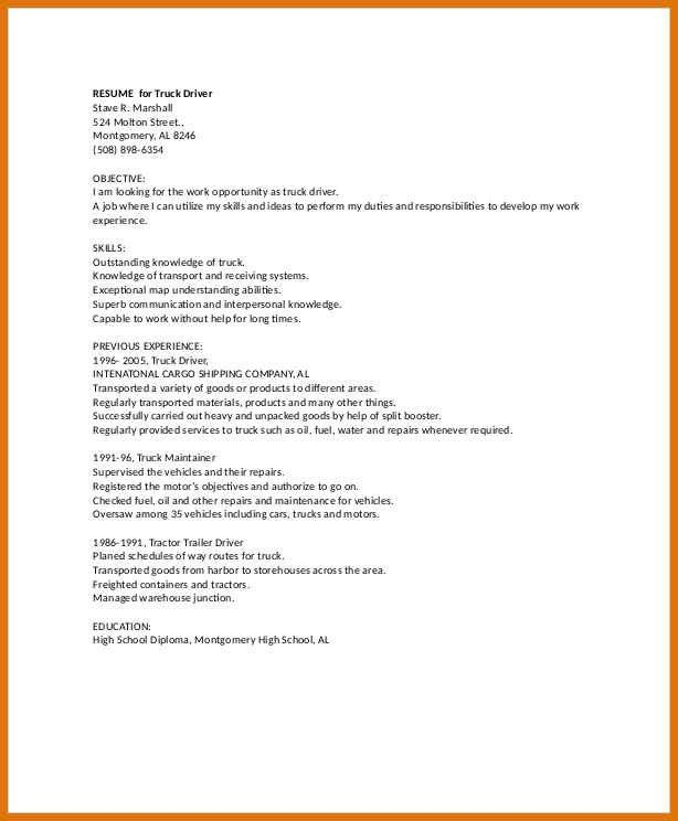 truck driver resume sample template. fullsize by gritte awesome ...