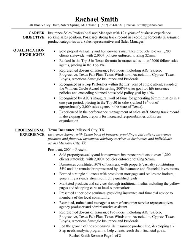 Insurance Sales Professional and Manager Resume Sample : Vinodomia