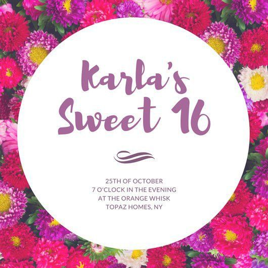 16th Birthday Floral Invitation - Templates by Canva