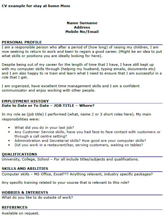 cv example for stay at home mom | Work From Home | Pinterest | Cv ...