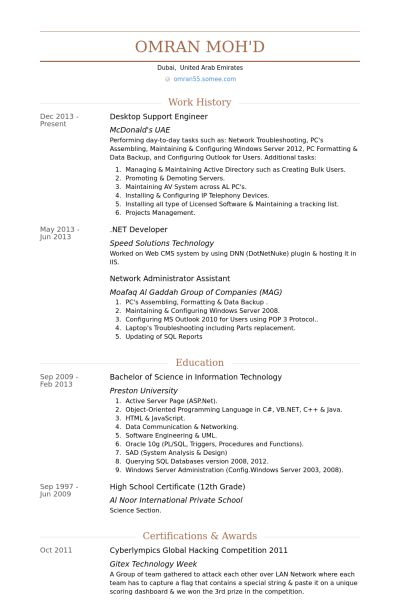 Desktop Support Engineer Resume samples - VisualCV resume samples ...