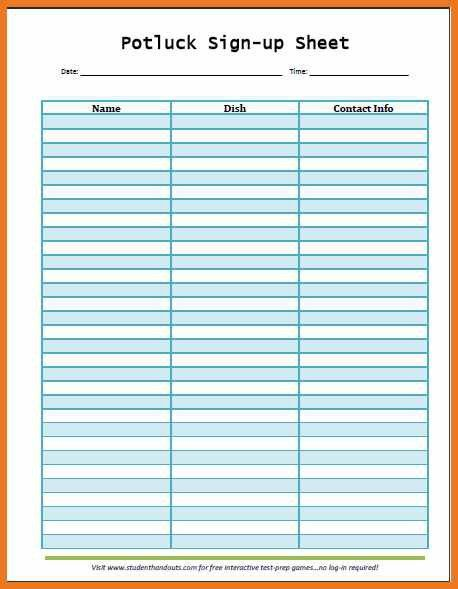 potluck signup sheet template | art resume skills