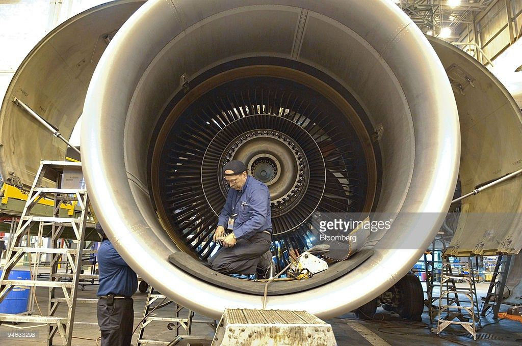 Delta Air Lines technician James Zakutansky works inside a j ...