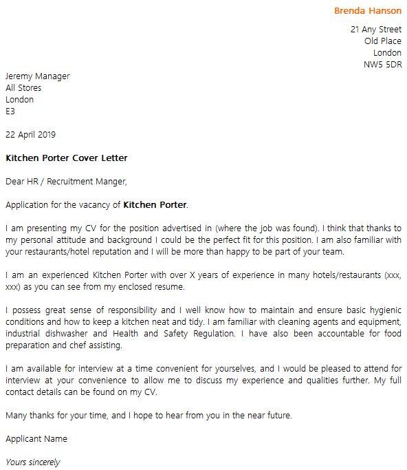 Kitchen Porter Cover Letter Example - icover.org.uk