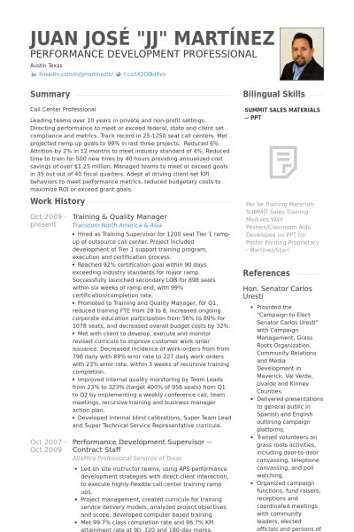 Quality Manager Resume samples - VisualCV resume samples database