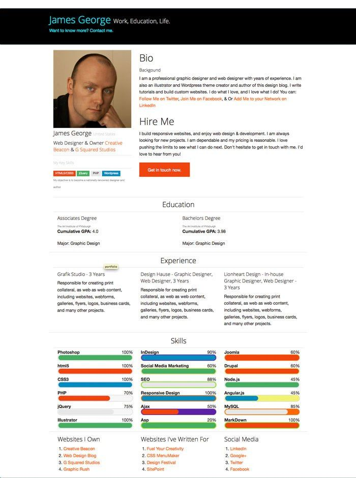 Free Bootstrap Resume Template | Portfolio website, Website and Free
