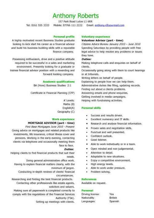 Graduate financial advisor CV sample, how to write a CV ...
