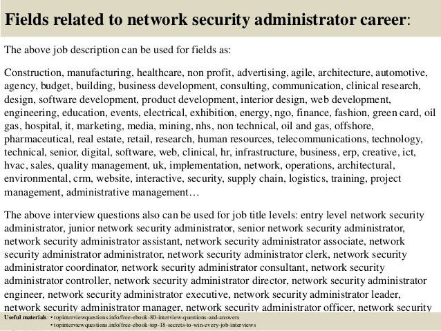 Top 10 network security administrator interview questions and answers