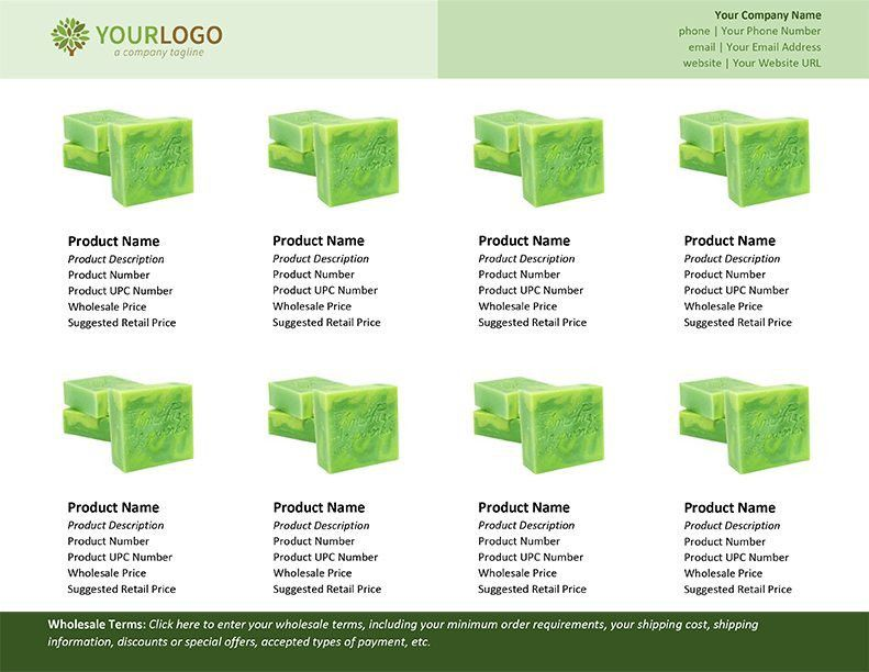 Wholesale Linesheet Template for Microsoft Word - Modern Soapmaking