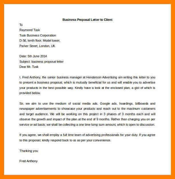 8+ business proposal letter to client | packaging clerks