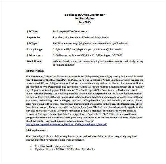 bookkeeping description 11 bookkeeper job descriptions