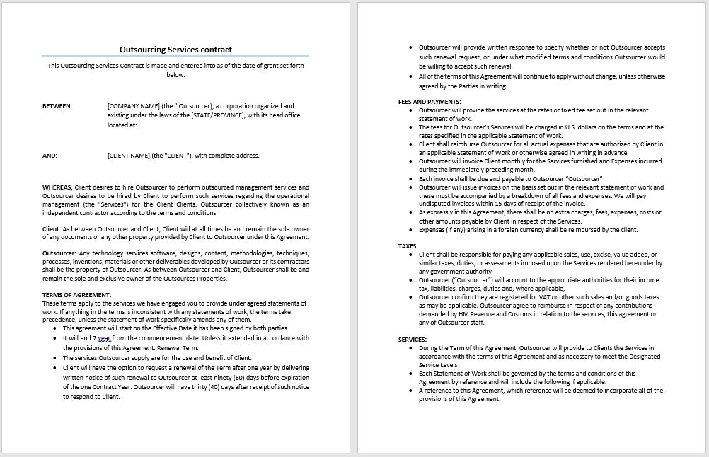 Outsourcing Services Contract Template | Microsoft Word Templates