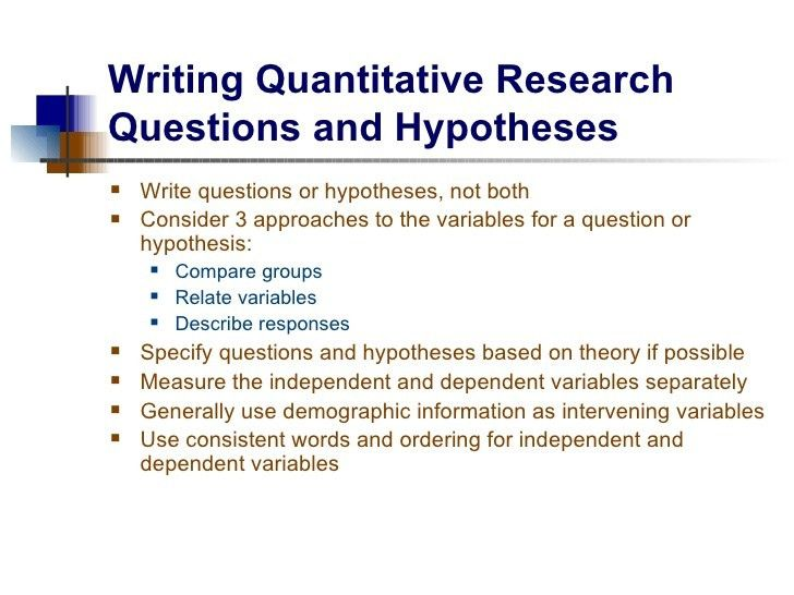 Research Questions and Hypotheses