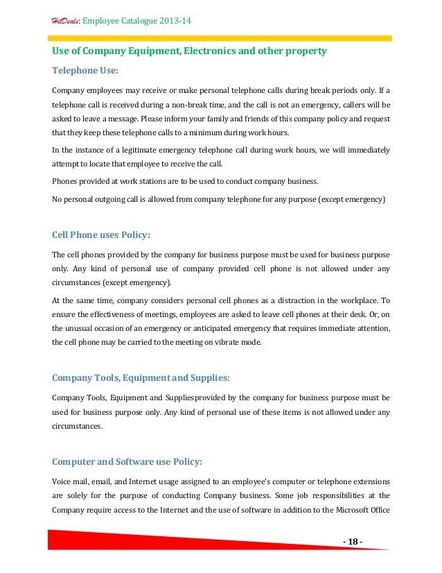 Hr Policy / Employee Catalogue - A template for your company