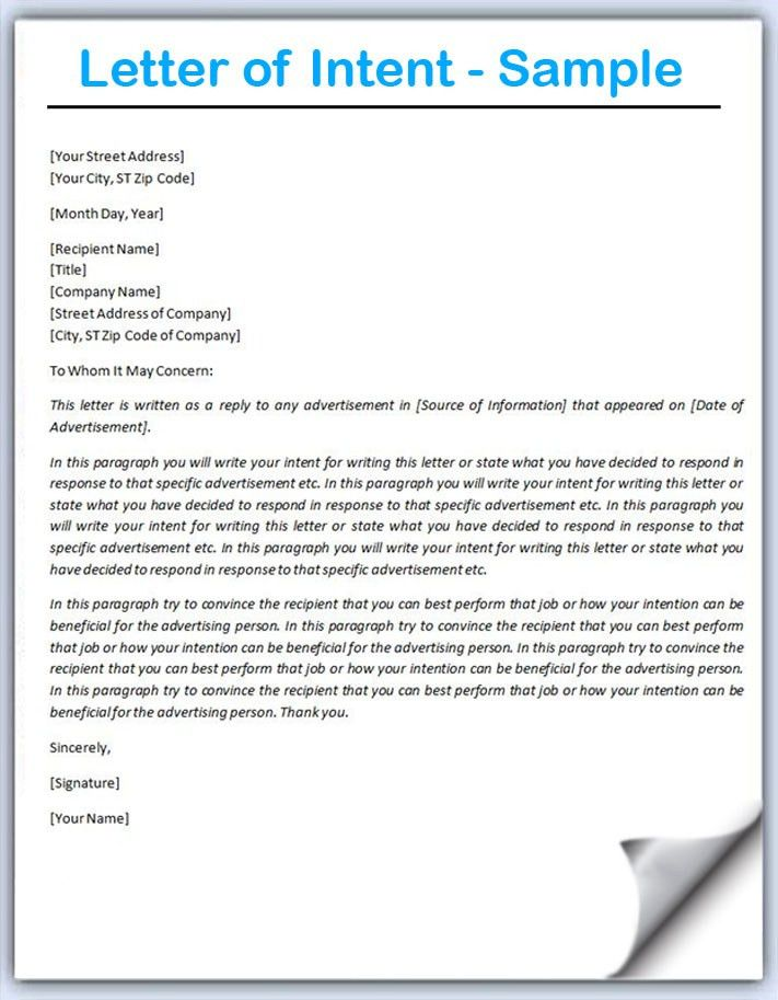 Letter of Intent Sample - Writing Professional Letters