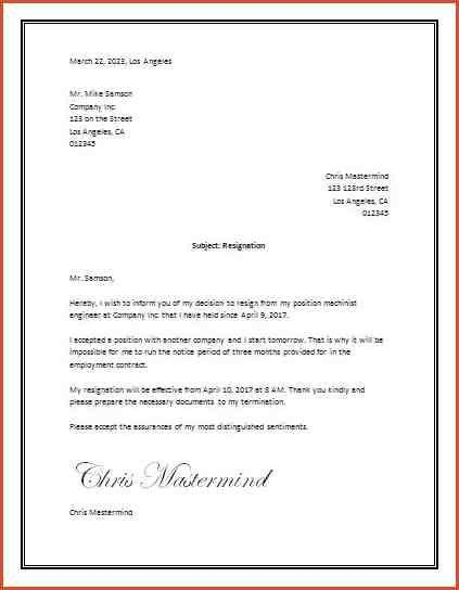 LETTER OF RESIGNATION TEMPLATE WORD.resignation Letter Format Ms ...