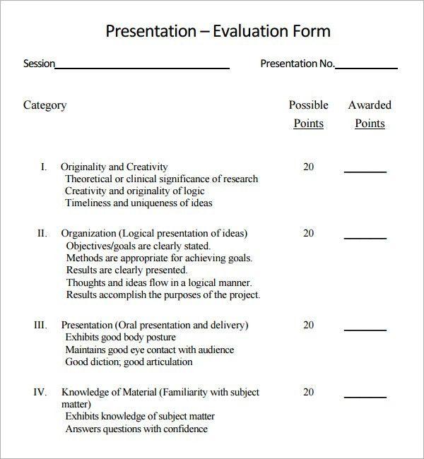 evaluation form for presentation template sample presentation ...
