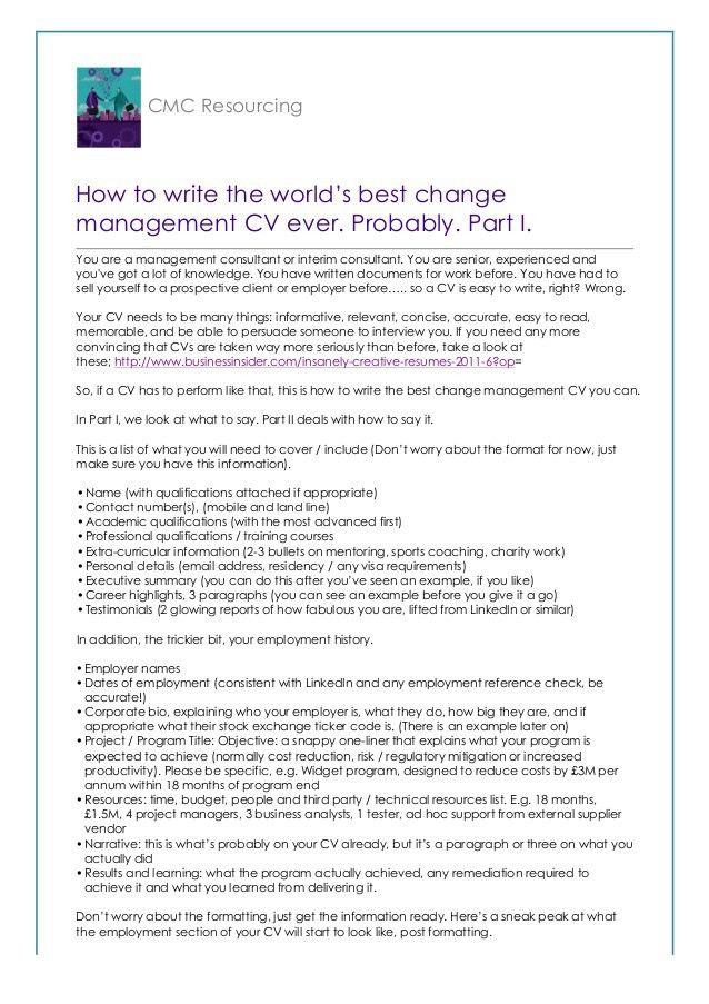 How to write the world's best change management CV. Probably.