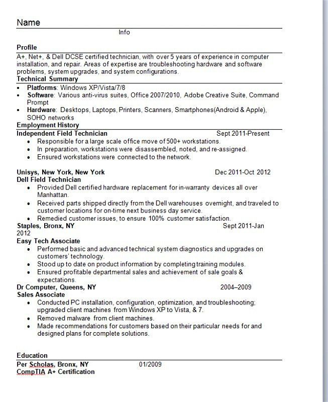 resume in one page