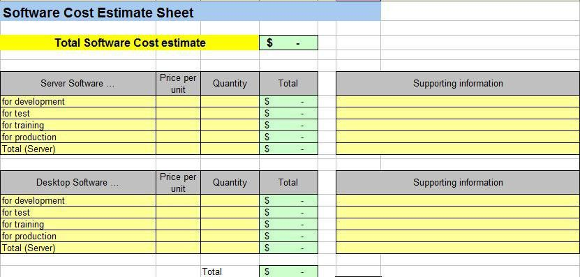 Project Cost Estimating Spreadsheet