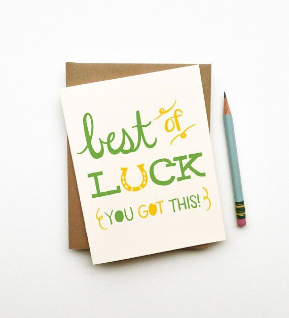 Best of Luck illustrated drawing good luck card horseshoe retro ...