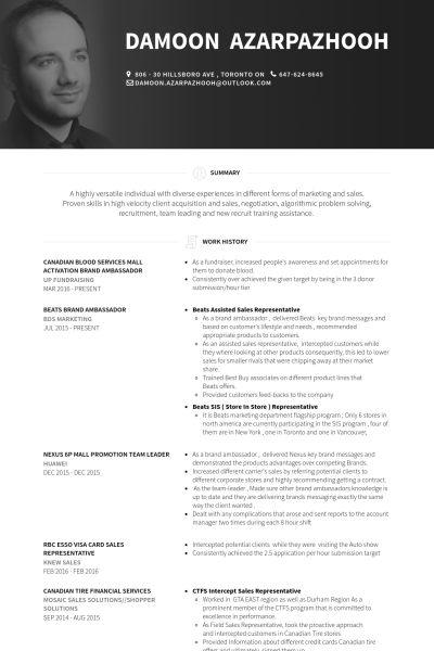 Brand Ambassador Resume samples - VisualCV resume samples database