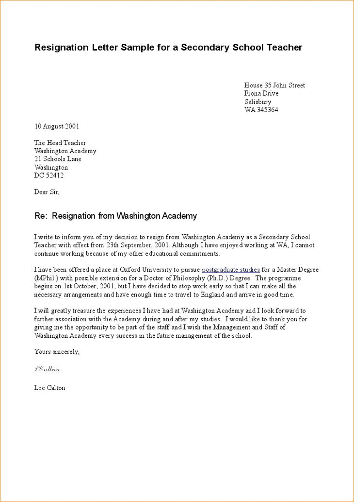 A sample letter of resignation - Business Proposal Templated ...