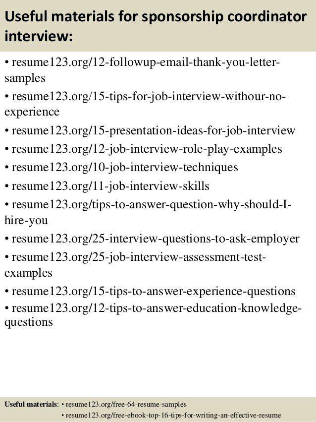 Sample resume for sponsorship manager
