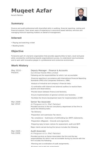 Deputy Manager Resume samples - VisualCV resume samples database