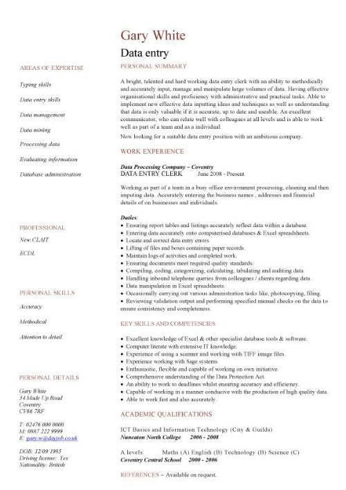 data entry CV sample, Accurate data entry, Experience of working ...