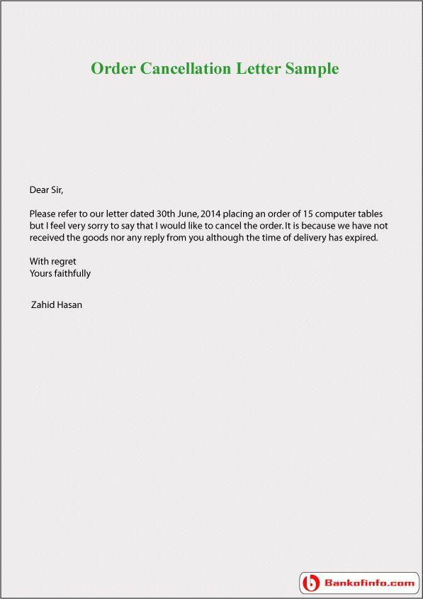 Order cancellation letter sample