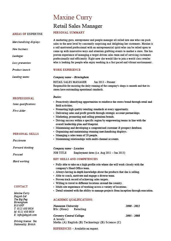 Retail sales manager resume, example, job description, sample ...