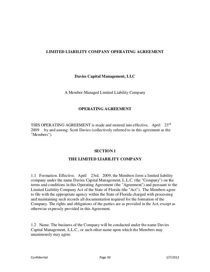 Sample Limited Liability Company Operating Agreement Llc Operating
