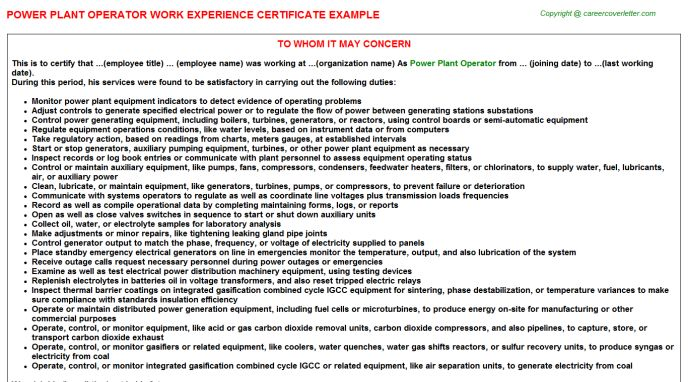 Power Plant Operator Work Experience Certificate