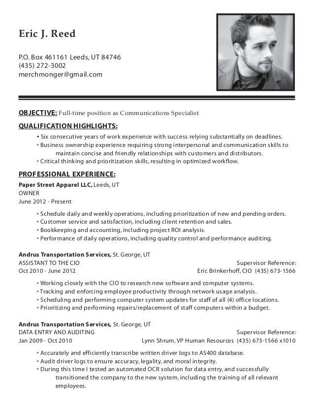 Resume - Eric J Reed - Communications Specialist
