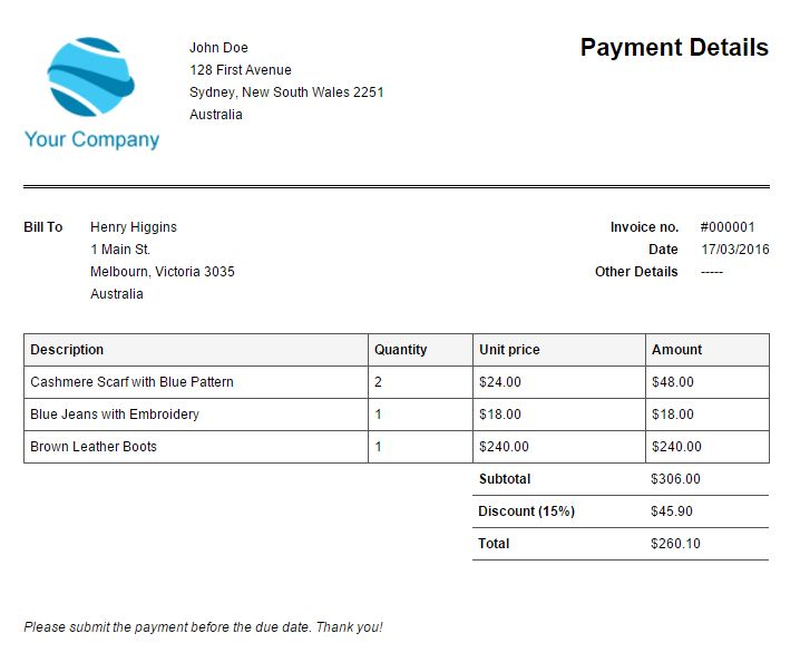 Sample Of Invoice Template | printable invoice template