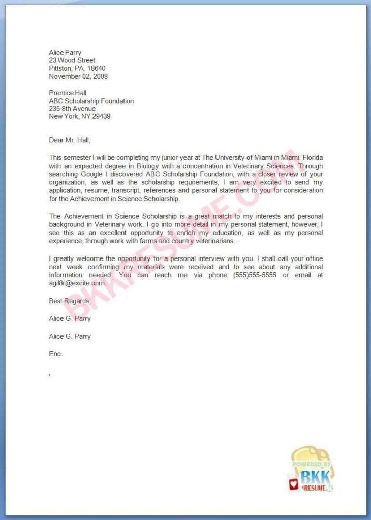Scholarship Cover Letter Example Scholarship Application Cover ...