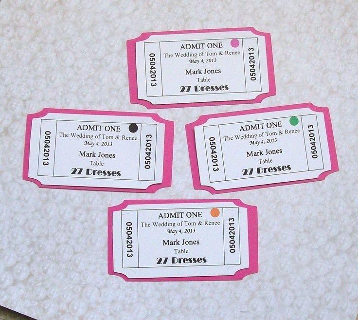 Movie Ticket - Place Card - Escort Card - Customized ...