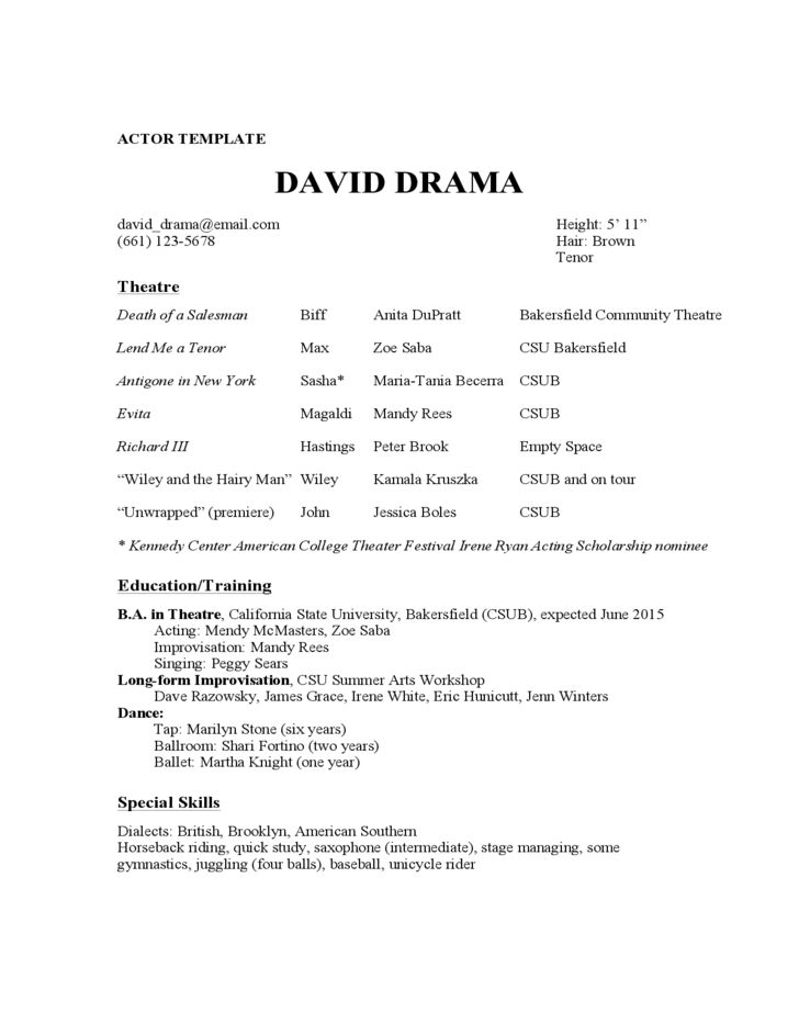 acting resume template free sample techie designer theatrical ...