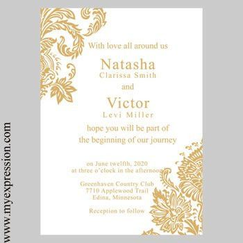 Wedding Invitation Template Gold Damask Instant Download