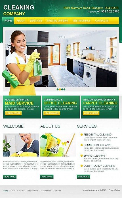 Website Template #43673 Cleaning Company Services Custom Website ...