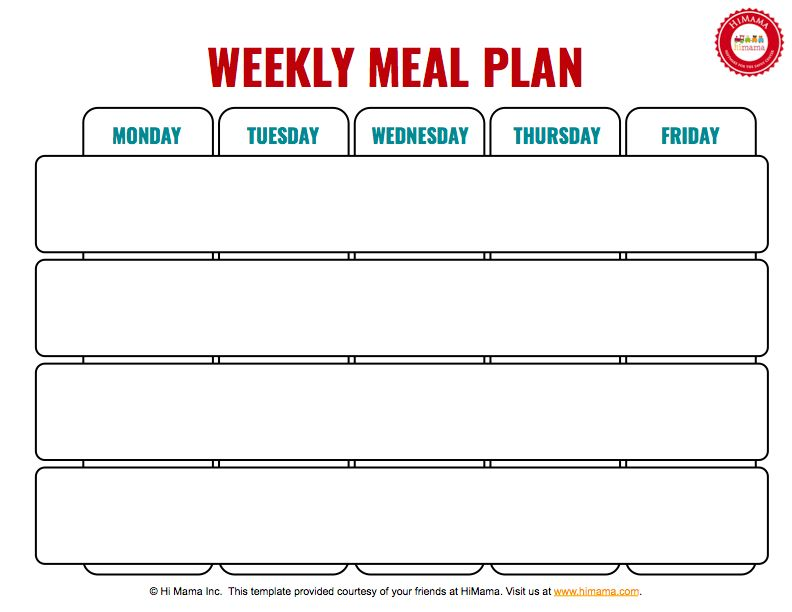 HiMama - Daycare Menu Template: Child Care Weekly Menu Template