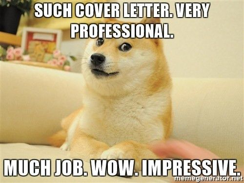 such cover letter. very professional. much job. wow. impressive ...