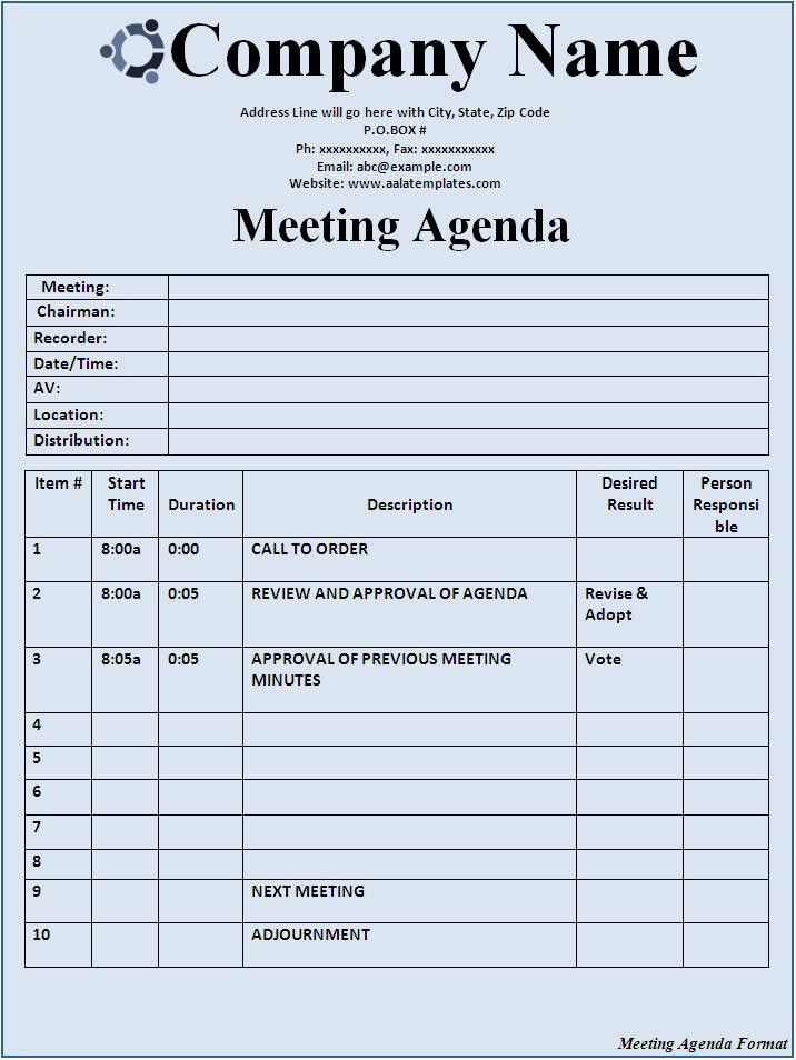 Meeting Agenda Format - Best Word Templates