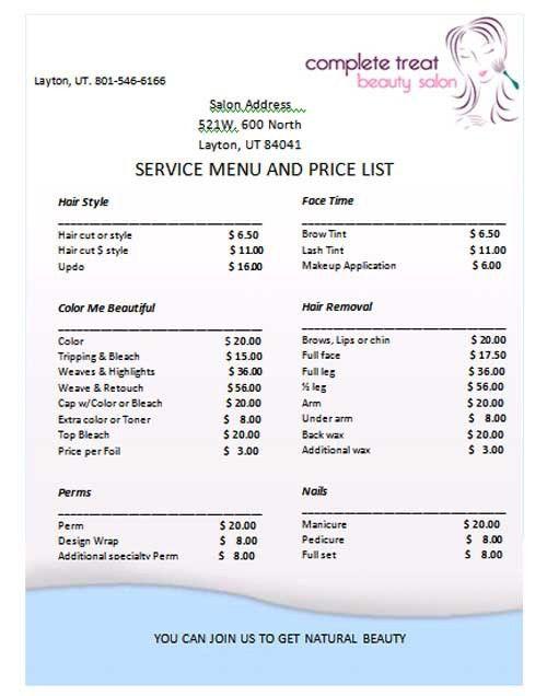 Price List Template | tristarhomecareinc