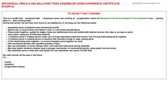 Lpo Work Experience Letters
