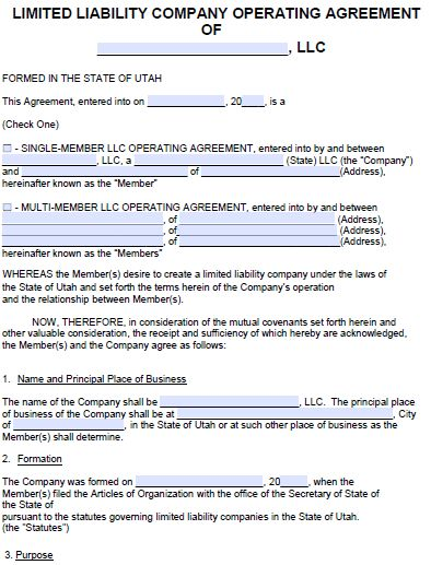 Free Utah LLC Operating Agreement Template | PDF | Word |