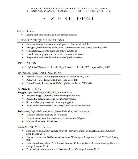 resume templates high school 10 high school resume templates free ...