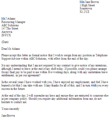 Resignation Letter : Samples Of Resignation Letter With Notice ...